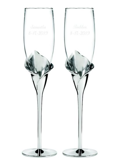 Personalized Gleaming Calla Lily Flutes - Wedding Gifts & Decorations