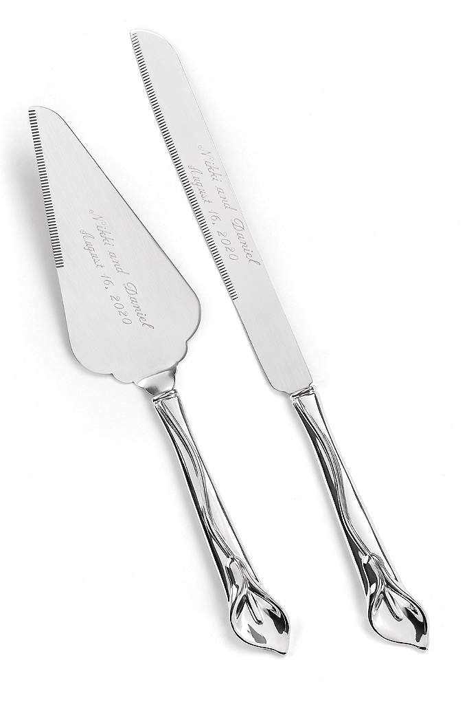 Personalized Gleaming Calla Lily Serving Set - With silver-tone handles sculpted into calla lilies, this