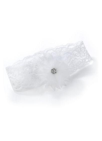 White (Glamour Flower Lace Garter)