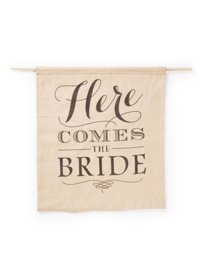 Rustic Linen Here Comes the Bride Sign - Wedding Gifts & Decorations