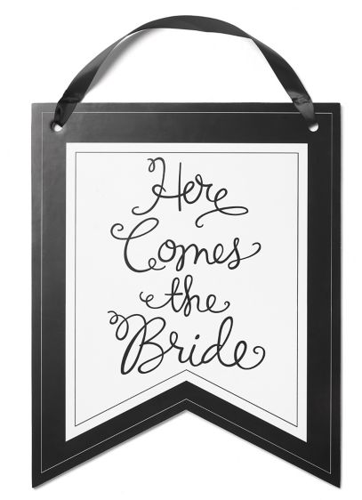 Here Comes the Bride Pennant Sign - Wedding Gifts & Decorations