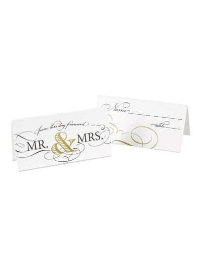 Golden Elegance Place Cards Pack of 25 - Wedding Gifts & Decorations