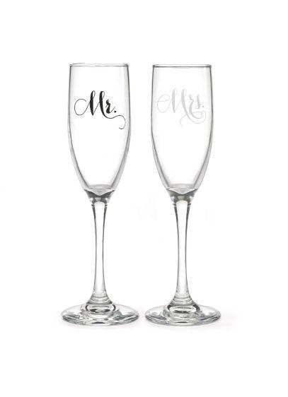 Mr and Mrs Elegant Toasting Flute Set - Wedding Gifts & Decorations