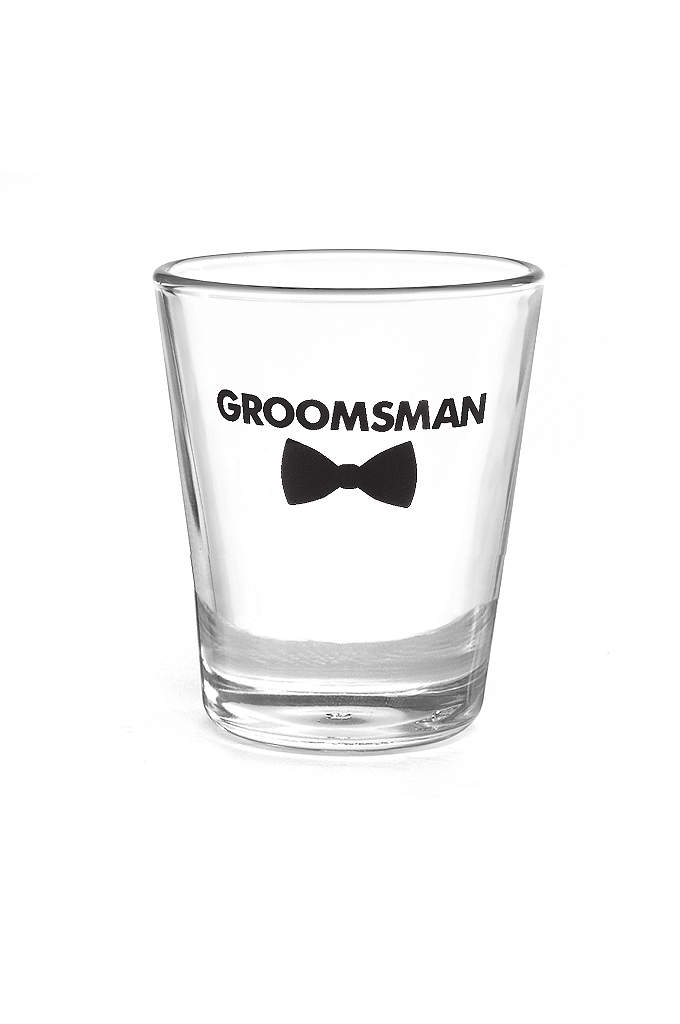 Groomsman Bow Tie Wedding Party Shot Glasses - Cheers! The groom and his best guys can