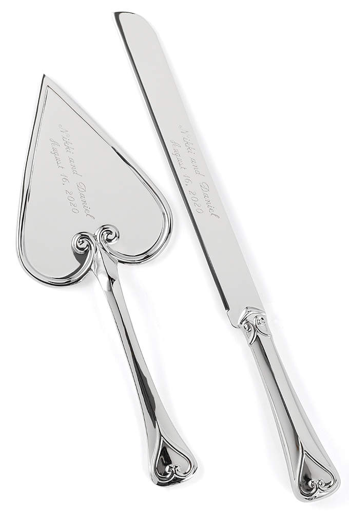 Personalized Shining Heart Cake Knife and Server - Add romance to your cake-cutting ceremony with this