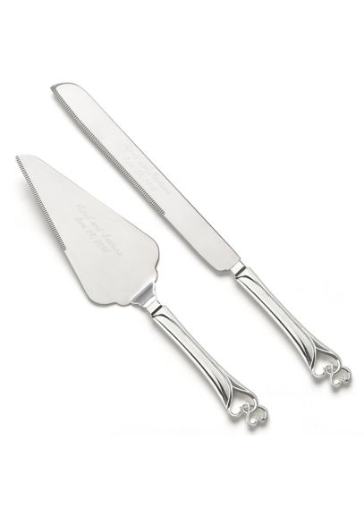 Personalized Entwined Hearts Cake Knife and Server DBK4823P