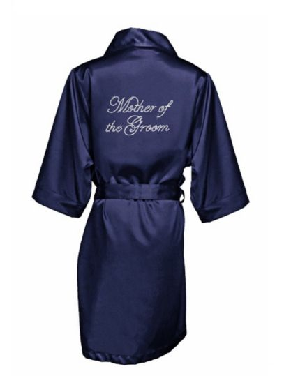 Navy Rhinestone Mother of the Groom Satin Robe - Wedding Gifts & Decorations
