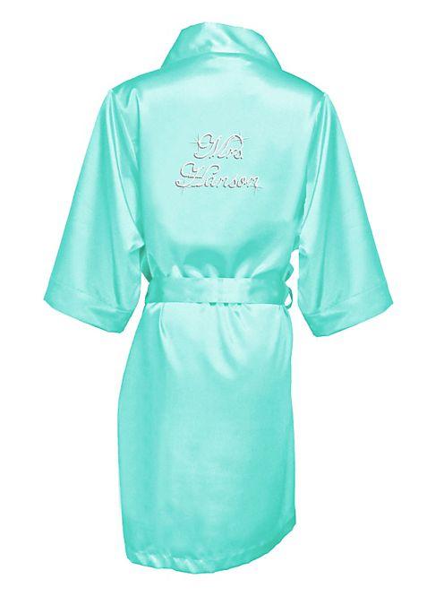 Personalized Rhinestone Mrs. Satin Robe | David\'s Bridal