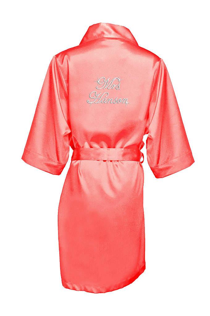 Personalized Rhinestone Mrs. Satin Robe - Luxurious satin robe personalized with