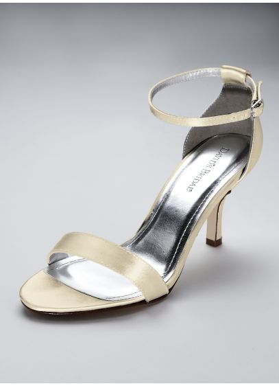 David's Bridal Ivory (Dyeable Single Strap Satin Sandal)