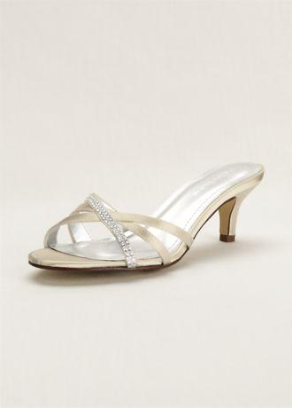 David's Bridal Ivory (Crystal Embellished Dyeable Low Heel Sandal)