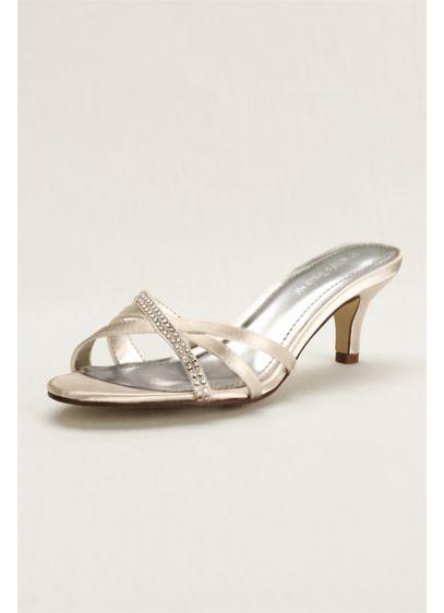 David's Bridal (Crystal Embellished Dyeable Low Heel Sandal)