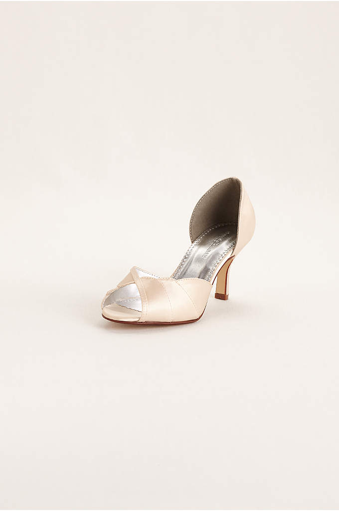 Satin Dyeable Peep Toe Heel with Scalloped Edge - Timeless and sophisticated, this scalloped edge mid heel