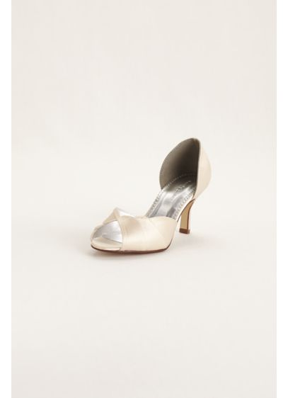 David's Bridal Ivory (Satin Dyeable Peep Toe Heel with Scalloped Edge)