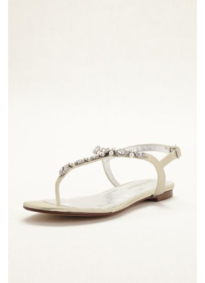 David's Bridal Ivory (Dyeable Pearl and Crystal Encrusted T-Strap Sandal)