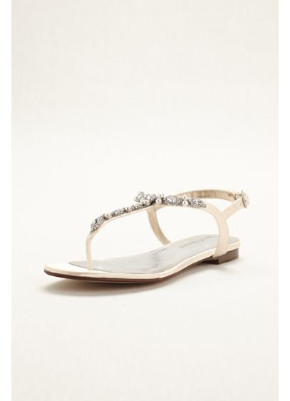 David's Bridal (Dyeable Pearl and Crystal Encrusted T-Strap Sandal)