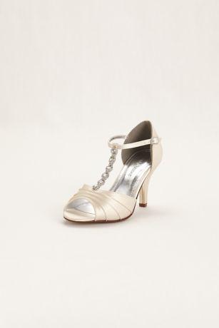 David's Bridal Ivory (Dyeable Satin Mid Heel Crystal T Strap Sandal)