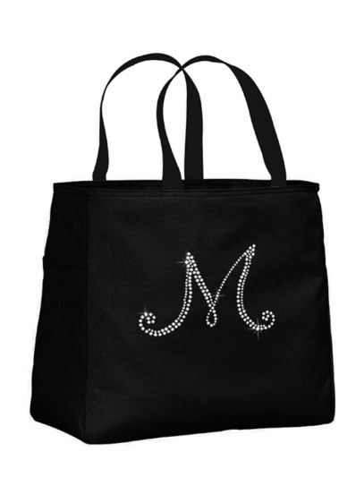 Personalized Rhinestone Script Initial Tote Bag - Wedding Gifts & Decorations