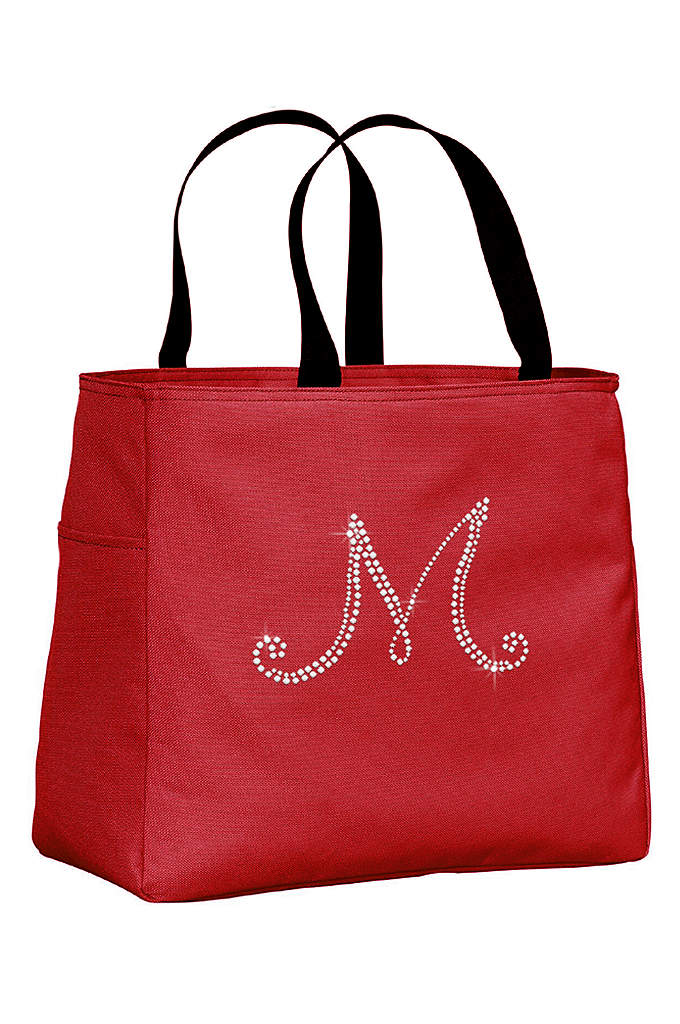 Personalized Rhinestone Script Initial Tote Bag - This cute tote bag features a sparkling rhinestone