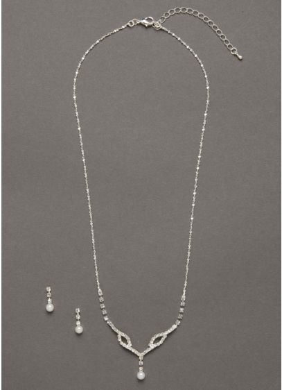 Crystal Pearl Drop Necklace and Earring Set - Wedding Accessories