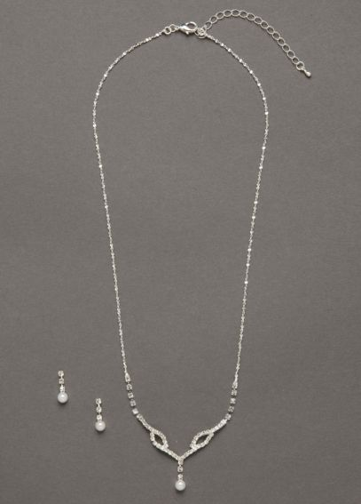 Crystal Pearl Drop Necklace and Earring Set DBW-051N
