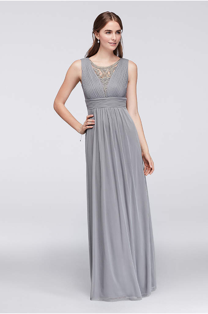 Beaded Inset Pleated Mesh Long Bridesmaid Dress - The illusion inset of this pleated mesh gown