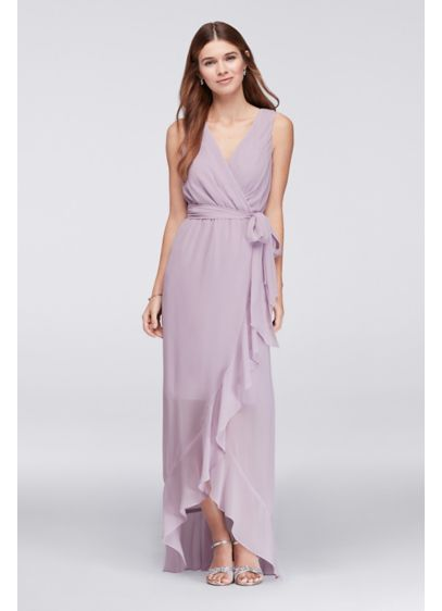 Long Red Soft & Flowy Violets and Roses Bridesmaid Dress