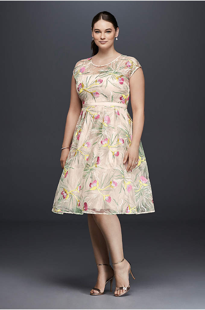 Embroidered Organza Fit-and-Flare Plus Size Dress - What could be more fun than this colorfully