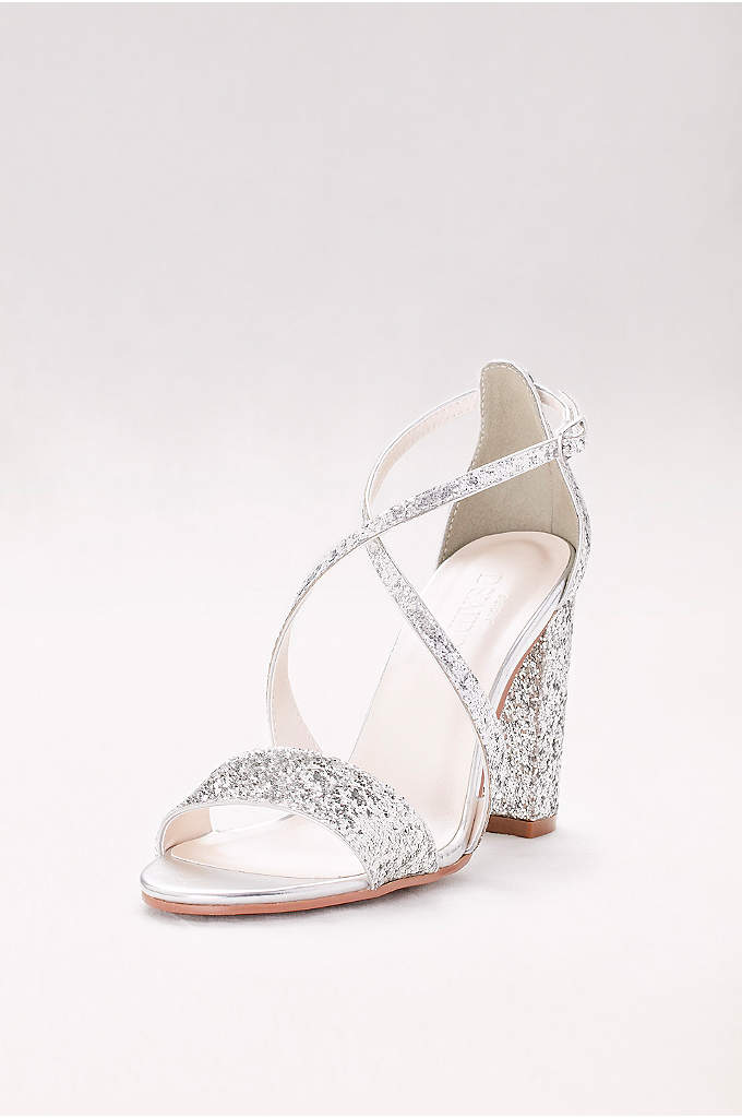 Crisscross Strap Block Heel Glitter Sandals - Topped in chunky glitter, these block-heeled open-toe sandals