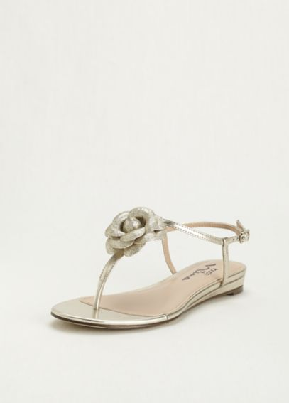 Touch of Nina Shimmering 3D Floral T-Strap Sandal DELORES