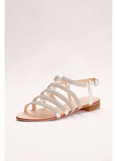 Italina White (Strappy Crystal Gladiator Sandals)