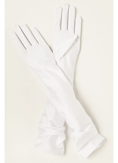 Matte Satin Over-The- Elbow Gloves - Wedding Accessories