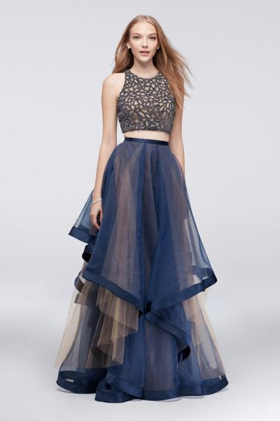 Beaded Two Piece Dress With Layered Organza Skirt David