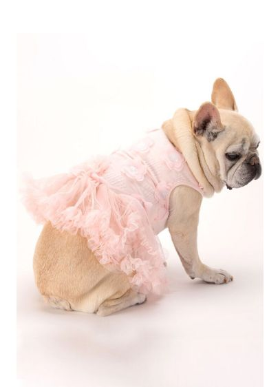 Light Pink 3D Floral Embellished Dog Dress - Wedding Gifts & Decorations