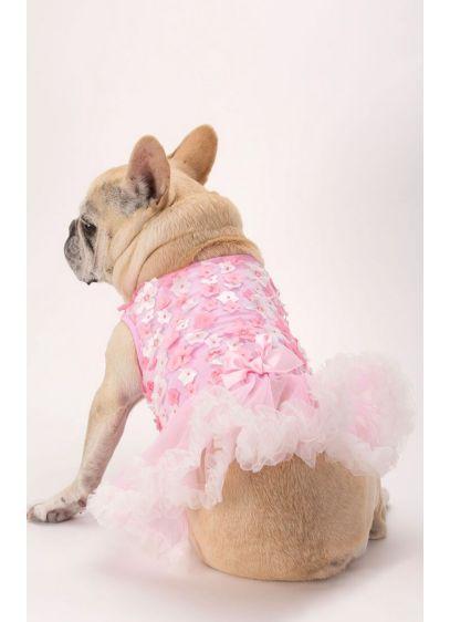 Pink 3D Floral Embellished Dog Dress - Wedding Gifts & Decorations