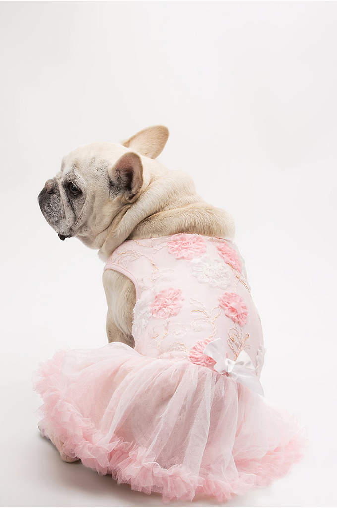 Pink and White Floral Embellished Dog Dress - Dress your furry companion in this adorable Pink
