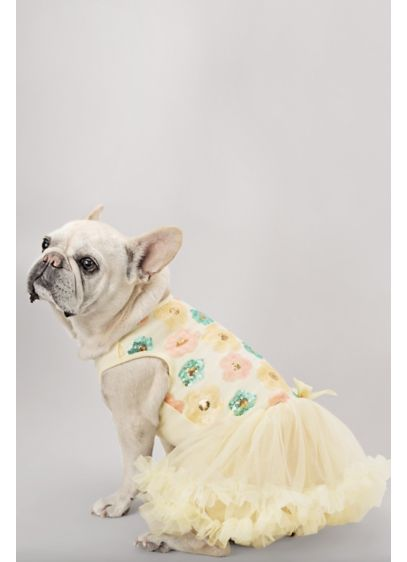 Pastel Sequin Floral Embellished Dog Dress - Wedding Gifts & Decorations