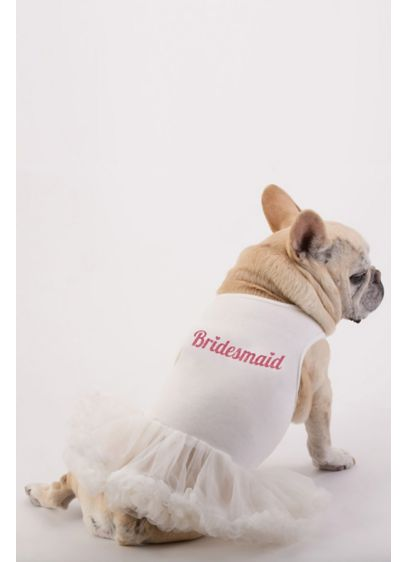 White (Bridesmaid Glitter Script Dog Dress)