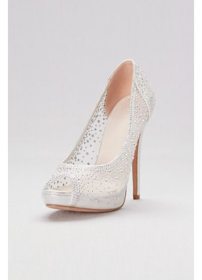 David's Bridal Grey (Sheer Mesh Peep-Toe Platform Heels with Crystals)