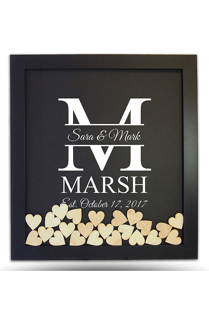 Pers Family Initial Drop Heart Guest Book Frame - The Family Initial Drop Heart Guest Book Frame