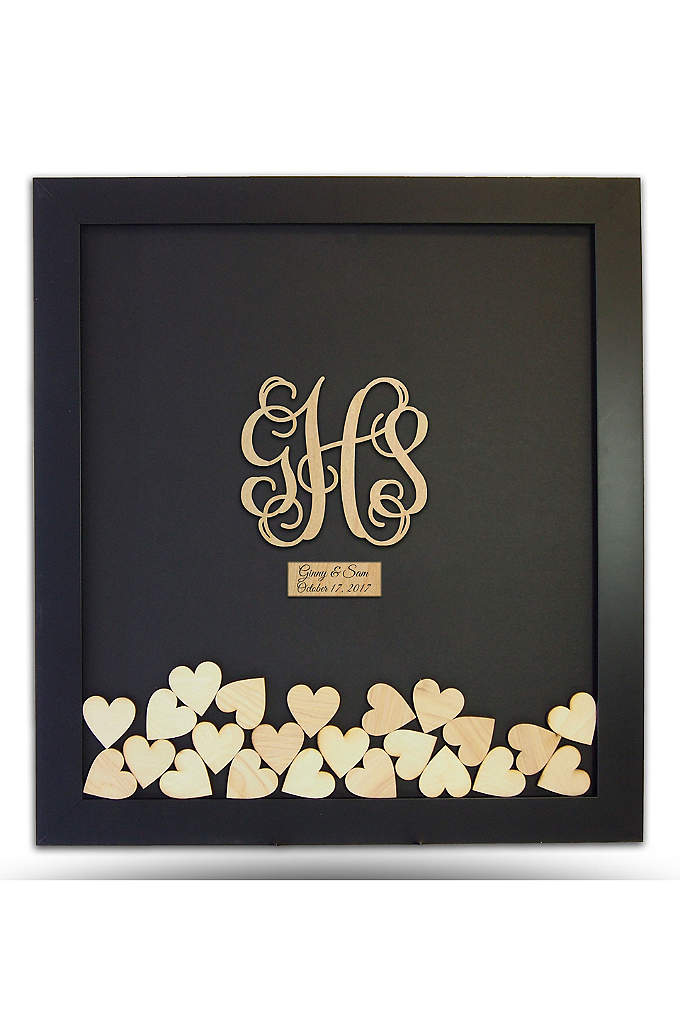 Pers Wooden Monogram Drop Heart Guest Book Frame - Celebrate your newlywed status with this Wooden Monogram