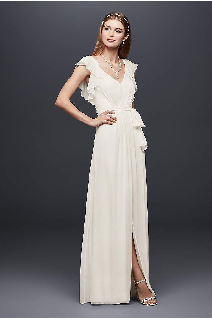 Flutter Sleeve Pleated Chiffon Sheath Gown - Simple and chic, this floor-length chiffon gown flatters