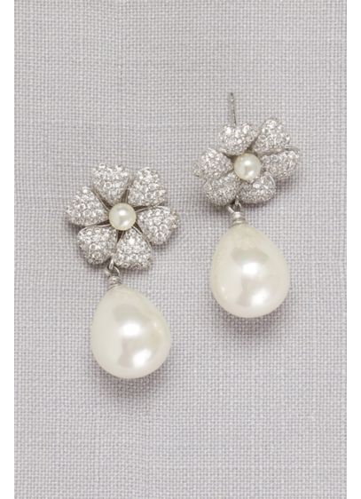 Crystal-Dusted Pearl Drop Earrings - Wedding Accessories