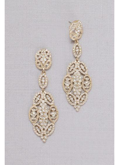 Linked Crystal Oval Earrings - Wedding Accessories