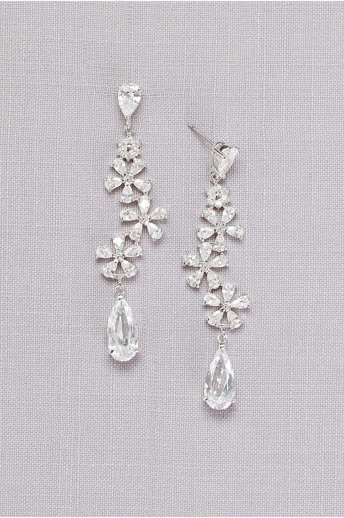Flower Trio Crystal Drop Earrings - Three crystal flowers and a single faceted teardrop