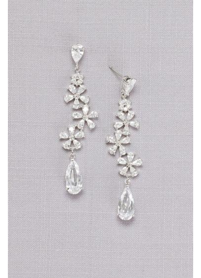 Flower Trio Crystal Drop Earrings - Wedding Accessories