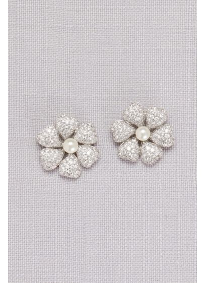 Crystal-Dusted Hibiscus Earrings with Pearls - Wedding Accessories