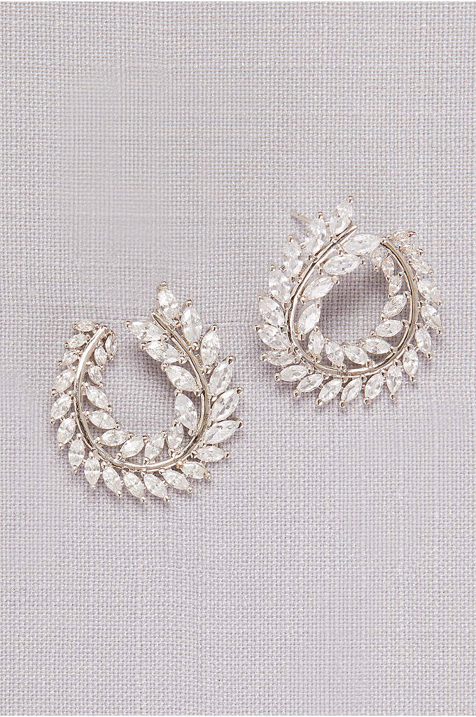 Curved Cubic Zirconia Laurel Leaf Hoops - A curved branch of crystal laurel leaves creates