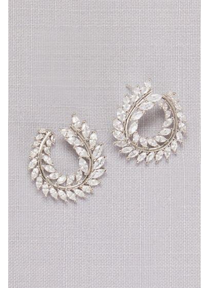 Curved Cubic Zirconia Laurel Leaf Hoops - Wedding Accessories
