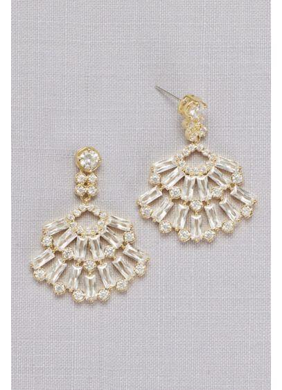 Cubic Zirconia Baguette Fan Earrings - Wedding Accessories